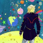 The little prince standing on the planet looking at the cosmos